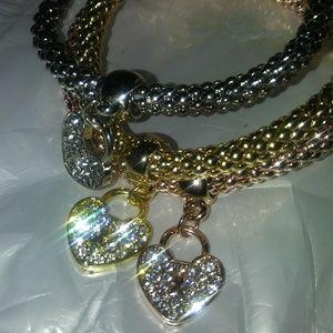 Jewelry - 3 Piece Heart Charm Bracelets
